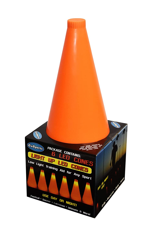 GoSports LED Light Up Sports Cones 6 Pack 9 Renewed