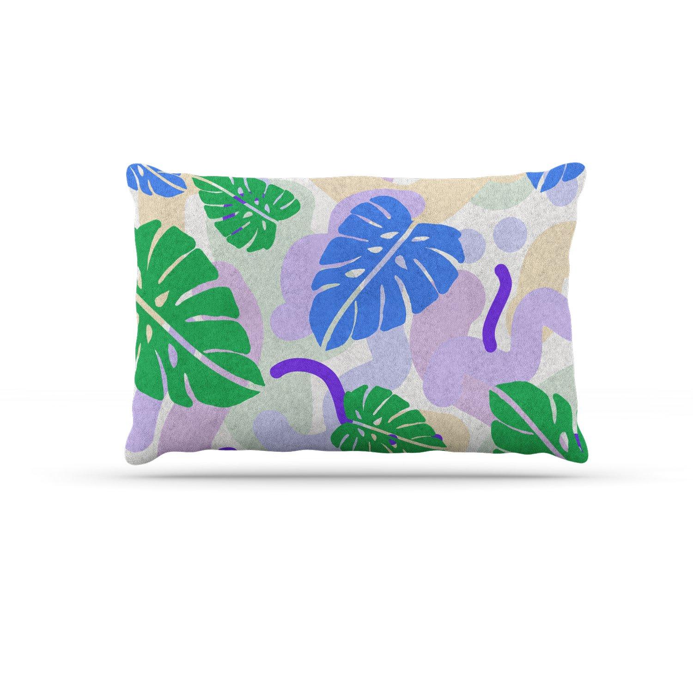 KESS InHouse Vasare NAR Monstera Tropical Plant bluee Lavender Digital Dog Bed, 50  x 40