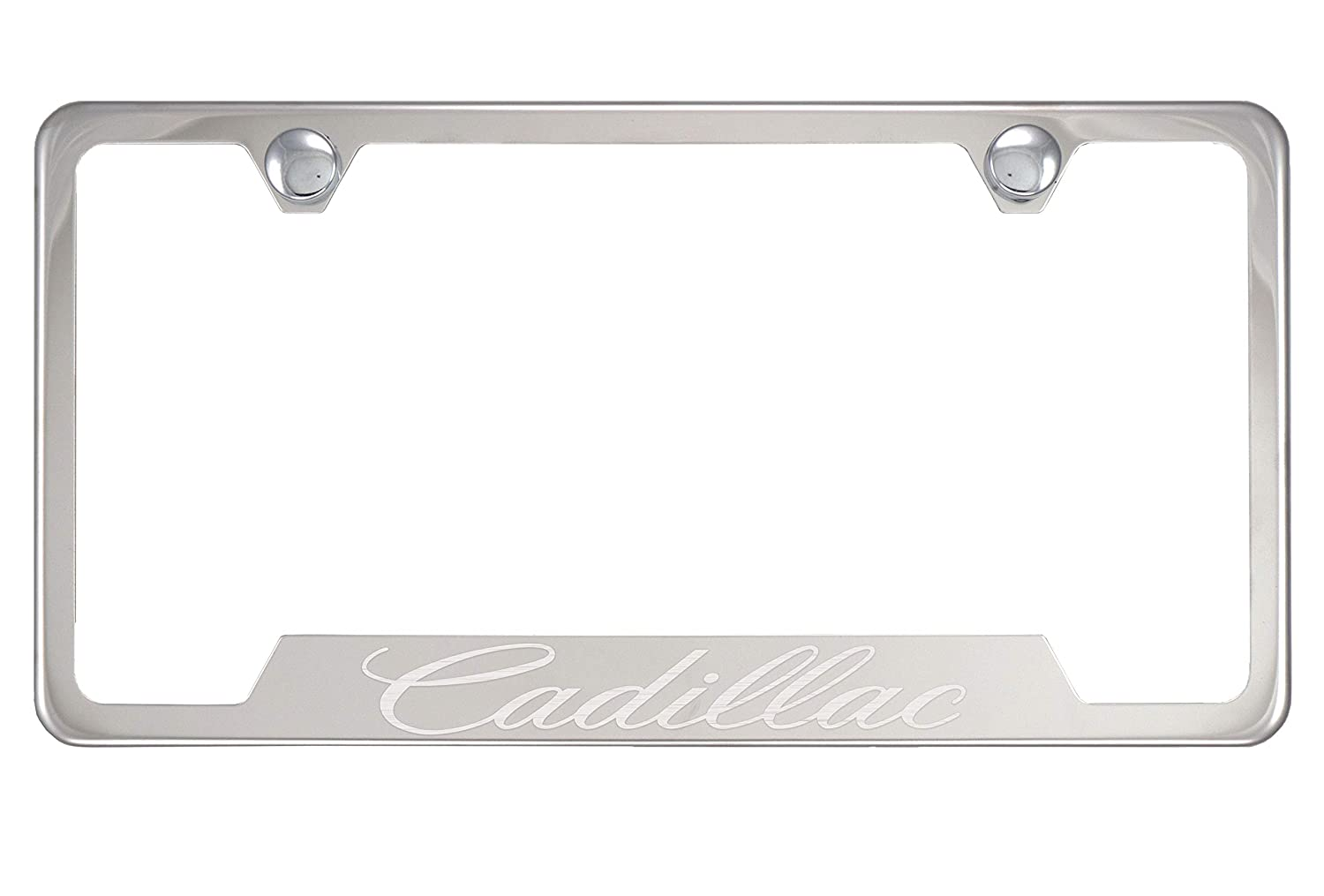 Fit Cadillac Polished Chrome Stainless Steel License Plate Frame with Caps