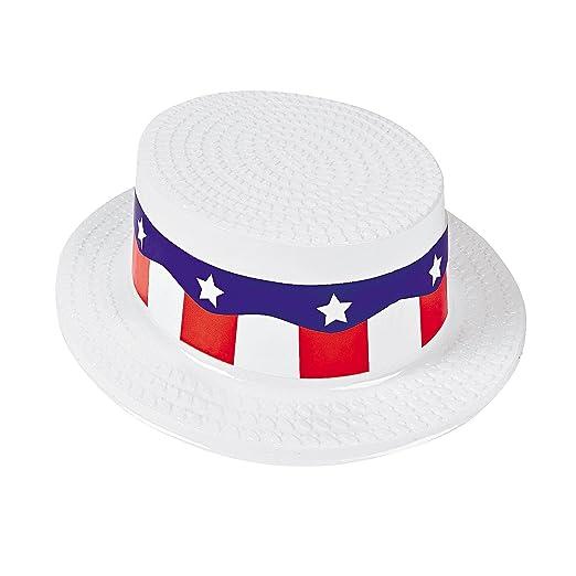 Amazon.com  ADULT SKIMMER HAT WITH RED WHITE AND BLUE BAND (1 DOZEN) -  BULK  Clothing bc4f49b9c96