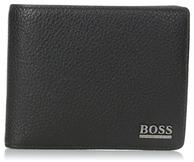 HUGO BOSS MEN'S COW LEATHER COIN BI FOLD WALLET 'MONEME' BLACK (BLACK):  Amazon.co.uk: Shoes & Bags