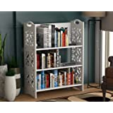 DecorNation 3 Tier Nora Bookcase Book Rack Storage Organiser, MDF for Long Last Bookshelf - White