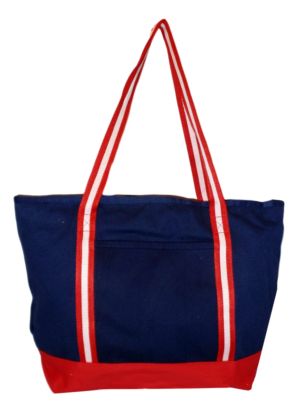 Premium Large 24 oz Cotton Canvas Zipper Top Tote Shopper Bag - Custom Available (Navy with Red White Straps)