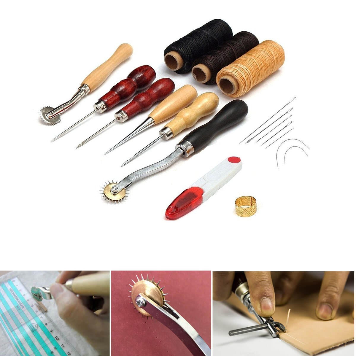 13pcs/Set DIY Leather Craft Sewing Tools Leather Hand Tools Kit Leathercraft Set Punch for Stitching Carving Working Sewing Saddle Groover DIY Leather Drilling Grinding Tool Home Handwork Accessories WElinks