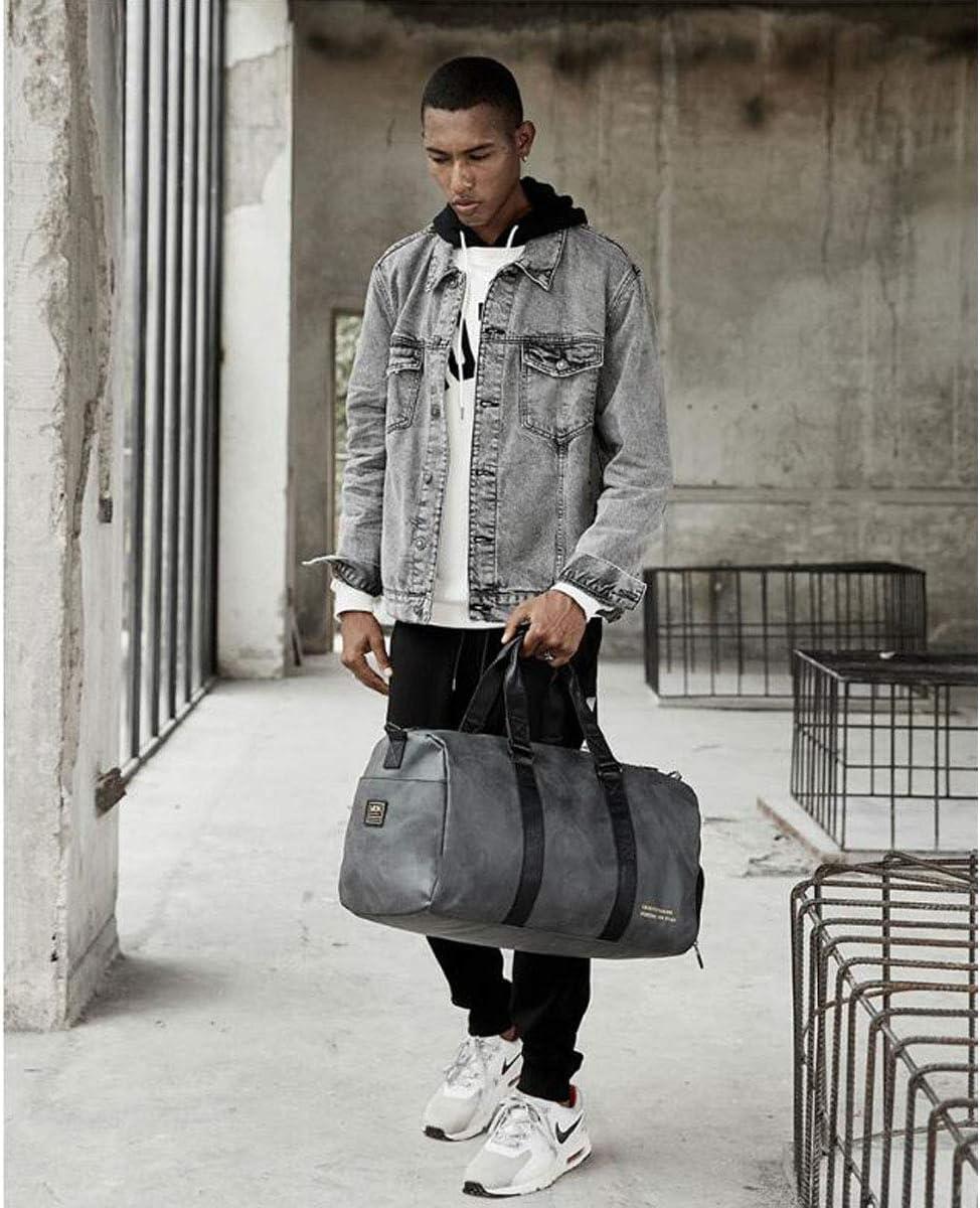 Portable Canvas Travel Bag Color : Volcanic ash Volcanic Ash Size: 49 27 28cm Large-Capacity Waterproof Travel Bag Kaiyitong Sports Bag