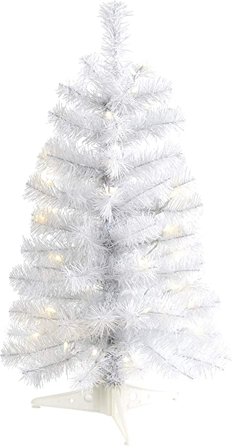 Amazon Com Nearly Natural 2ft White Artificial Christmas Tree With 35 Led Lights And 72 Bendable Branches Home Kitchen