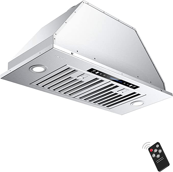 Amazon Com Iktch 30 Inch Built In Insert Range Hood 900 Cfm Ducted Ductless Convertible Duct Stainless Steel Kitchen Vent Hood With 2 Pcs Adjustable Lights And 2 Pcs Baffle Filters Appliances