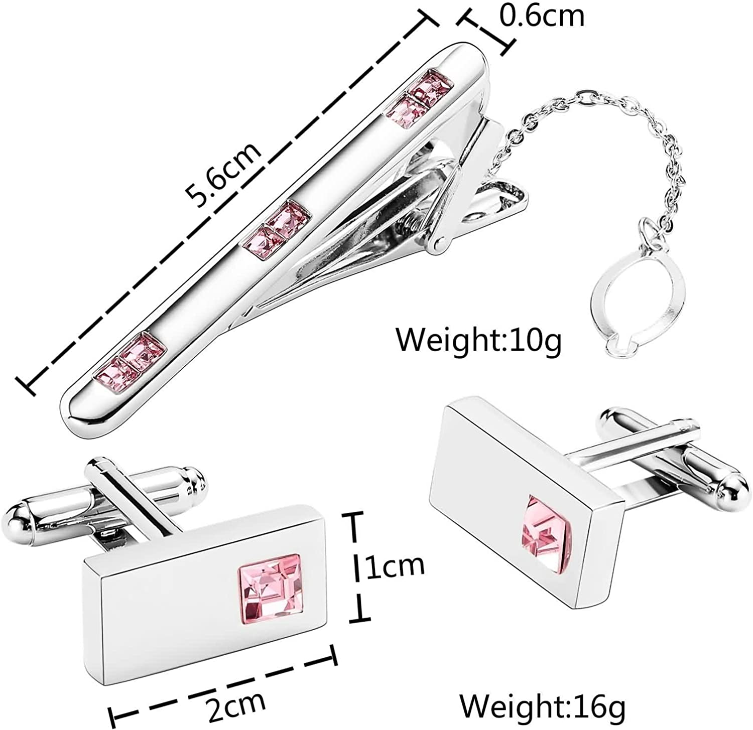 KnSam Stainless Steel Tie Clip Cufflink Set for Men Women Square Highlight Crystal Pink