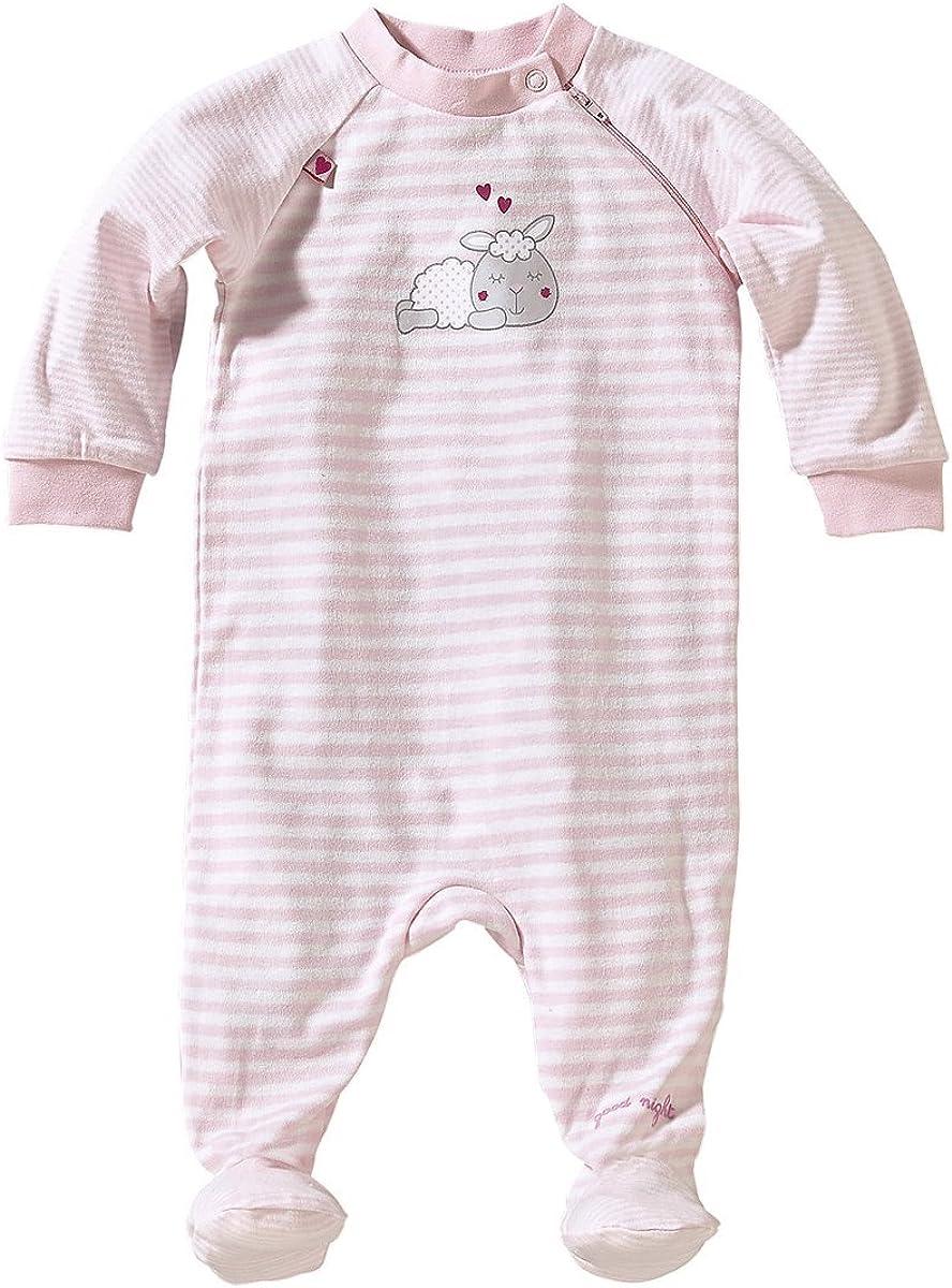 Strampler aus Reiner Baumwolle mit praktischem Rei/ßverschluss Bornino Schlafoverall Baby-Schlafstrampler mit Streifen /& B/ärchen-Print