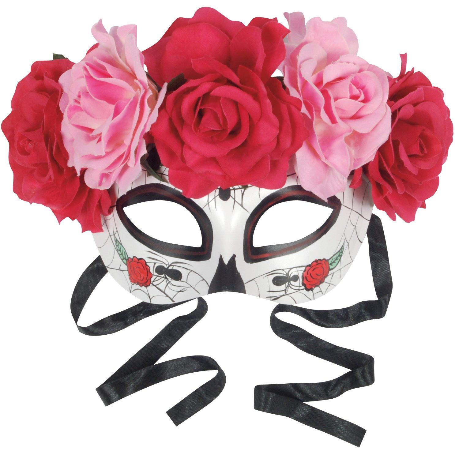 ویکالا · خرید  اصل اورجینال · خرید از آمازون · Loftus International Star Power Day of The Dead Sugar Skull Half Mask W Roses, White Multi, One-Size Novelty Item wekala · ویکالا