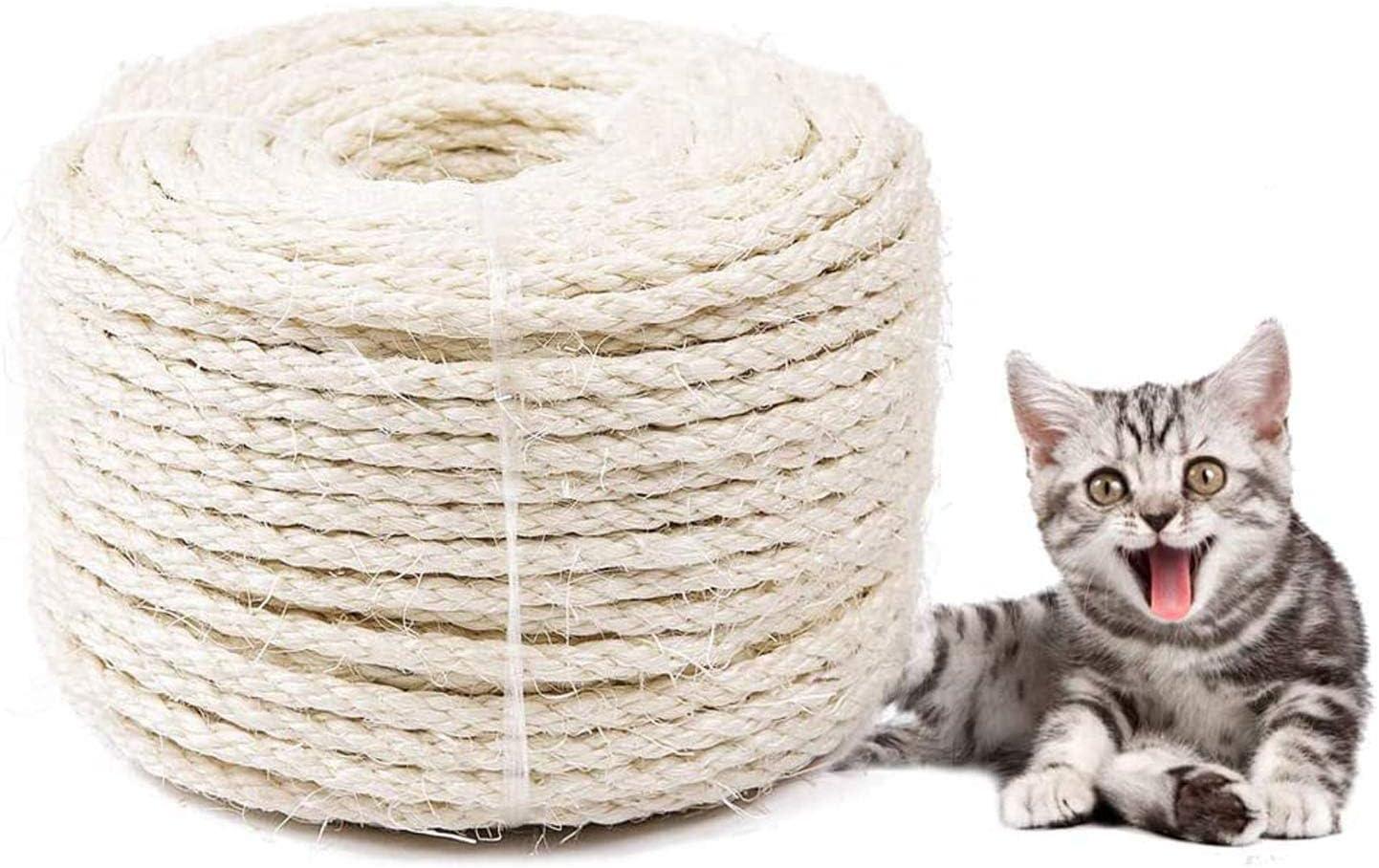 DIY Mobili albero per gatti tappeto e tappetino antigraffio Corda in sisal 6mm per Gatto Scratcher Riparare e sostituire il tiragraffi per gatti Sisal 20m//66 piedi giocattoli per kicker per gatti