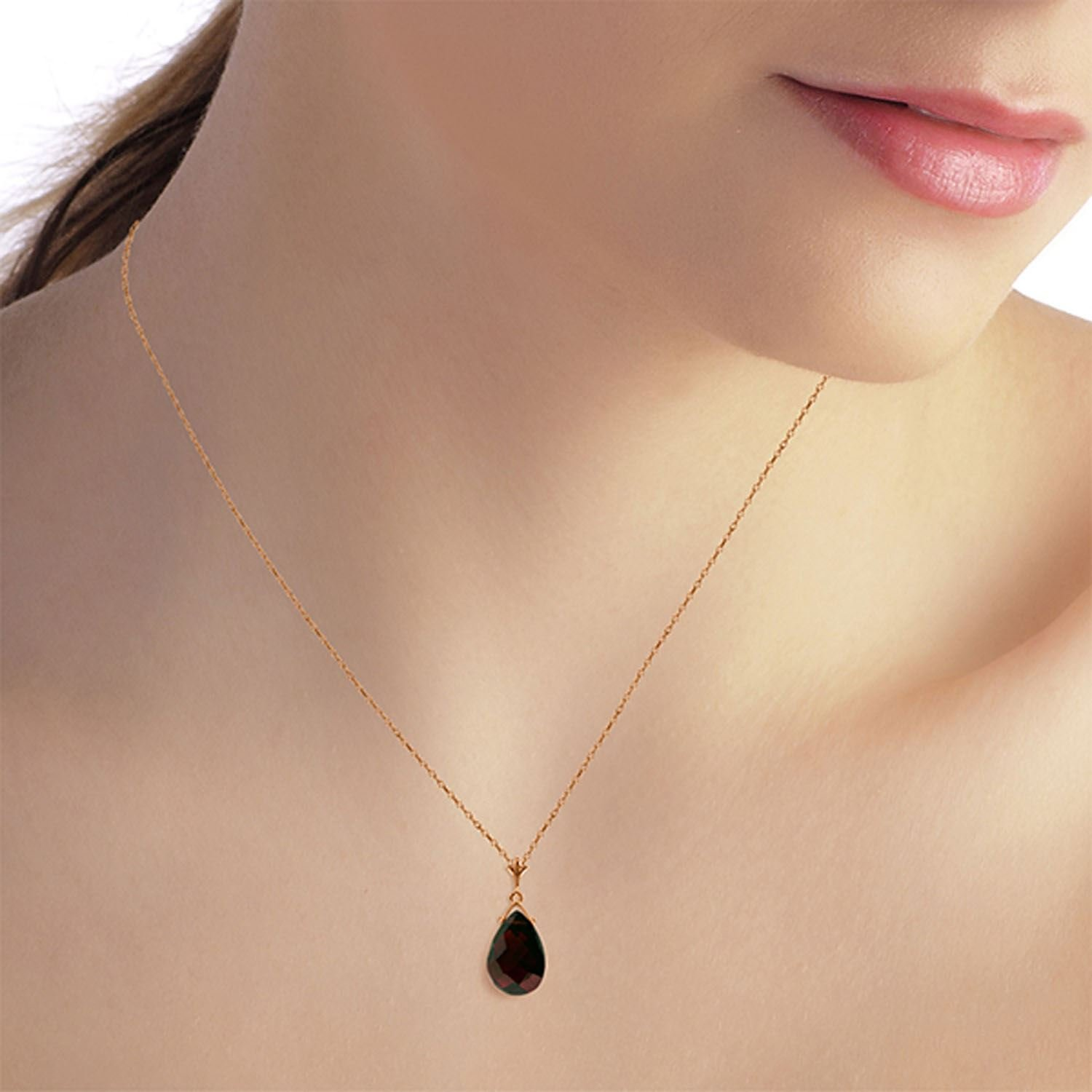 ALARRI 14K Solid Rose Gold Necklace w// Briolette Garnet with 18 Inch Chain Length