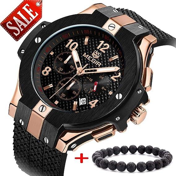 MEGIR Relojes Militar Hombre Grande oro rosa de cuarzo, negro silicona banda, cronógrafo y resistente al agua: Amazon.es: Relojes