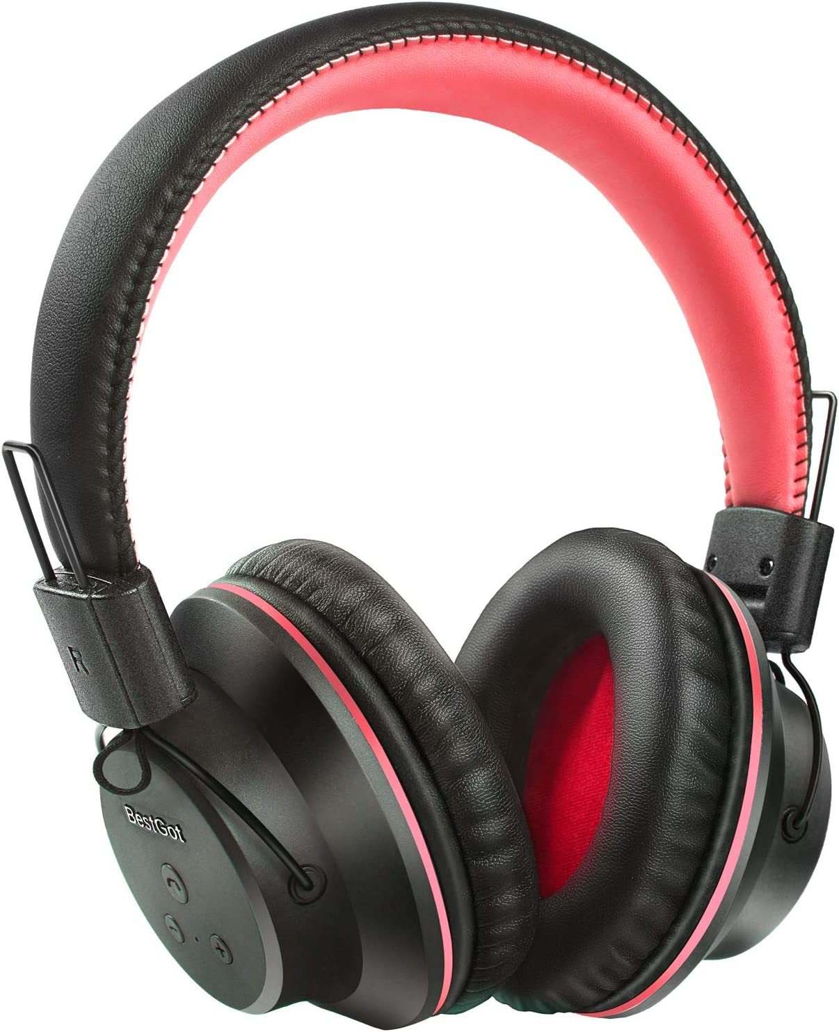 Bluetooth Over Ear Headphones, BestGot S1 Wireless Headset Foldable 20Hrs Playtime Over-Ear Wireless Headphones with Mic for PC Cell Phone Black Red