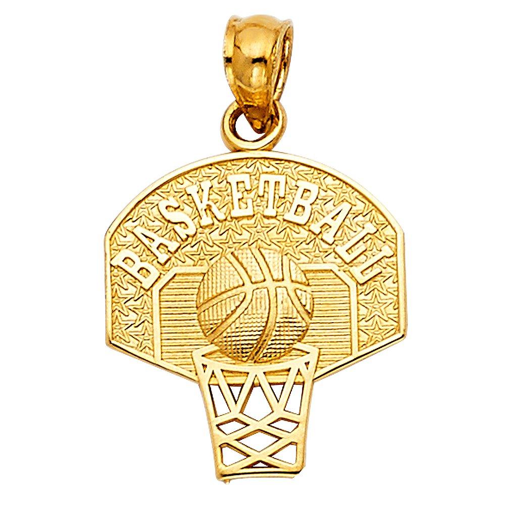 Paradise Jewelers 14K Solid Yellow Gold BasketBall Hoop Pendant