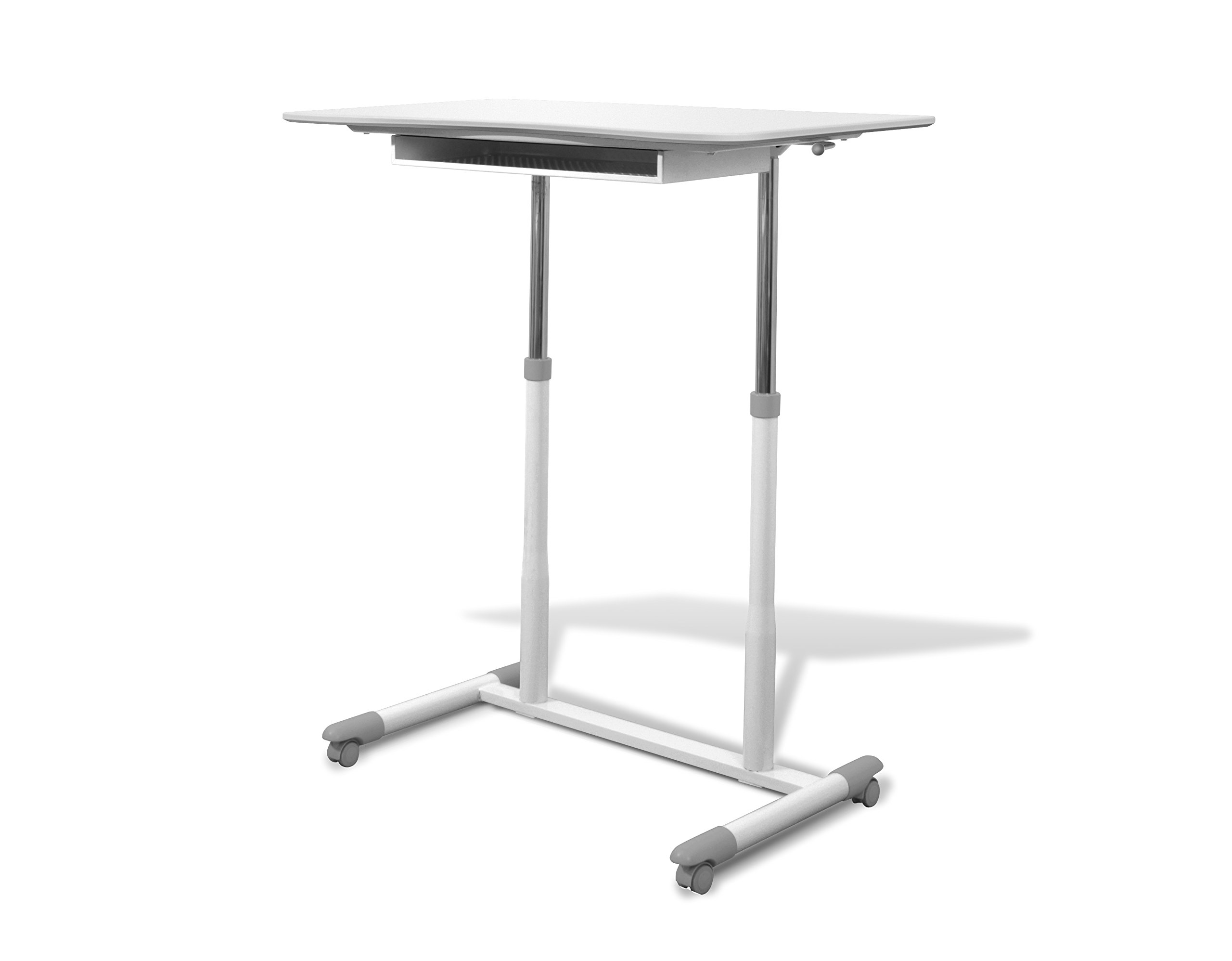 Unique Furniture 205-WH Height Adjustable Sit Stand Desk with White Top by Unique Furniture
