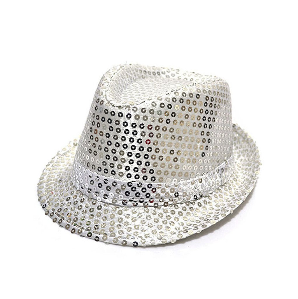 Cool Sequin Toddler Kids Fedora Panama Hat Boy Girl Party Paillette Cap Hat(Silver) GGG