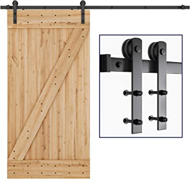 Amazon Com Smartstandard 8ft Heavy Duty Sturdy Sliding Barn Door Hardware Kit Smoothly And Quietly Easy To Install Includes Step By Step Installation Instruction Fit 42 48 Wide Door Panel I Shape Home Improvement