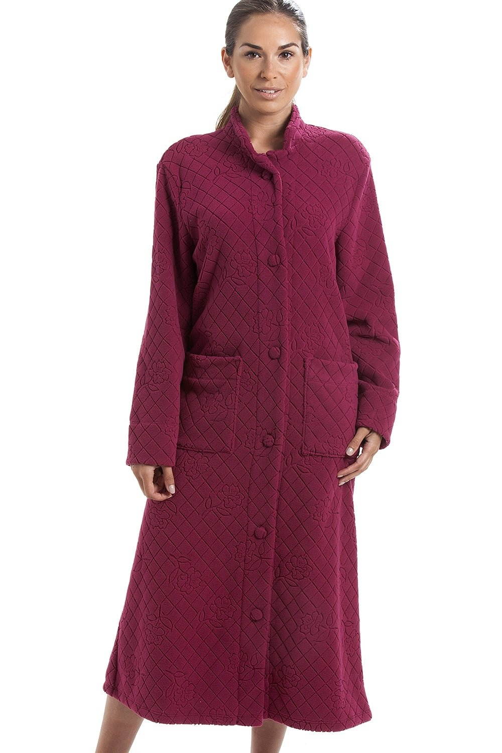 Camille Womens Various Colours Soft Fleece Floral Full Length Button Up Housecoat