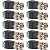 10 Unids BNC Conectores de Balun de Video Macho, Adaptador de Balun de Video de Conector Macho de BNC, Conectores Coaxiales de Video Coaxial de Terminal de Tornillo para Cámara CCTV