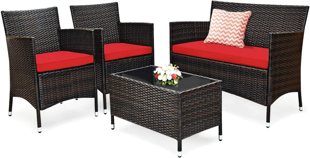 Tangkula 4 PCS Patio Rattan Conversation Set, Outdoor Wicker Furniture Set with Tempered Glass Coffee Table &Thick Cushion, Rattan Chair Wicker Set for Garden, Lawn, Poolside and Backyard (1, Red)