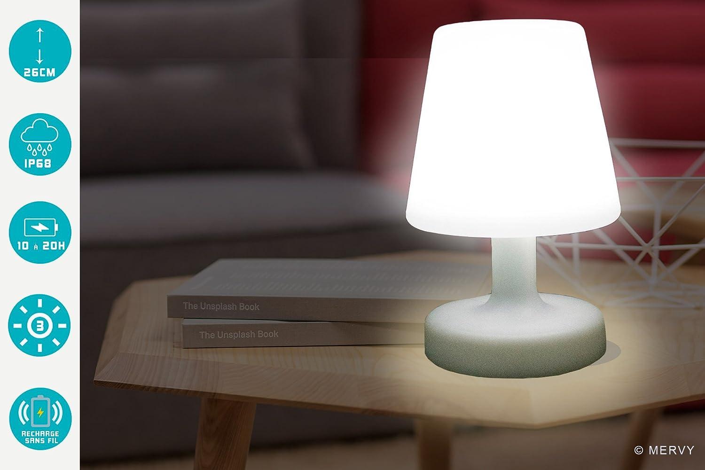 Mervy Lampada da esterno a LED 26 cm, decorativa, da tavolo, ricaricabile, senza fili (induzione)