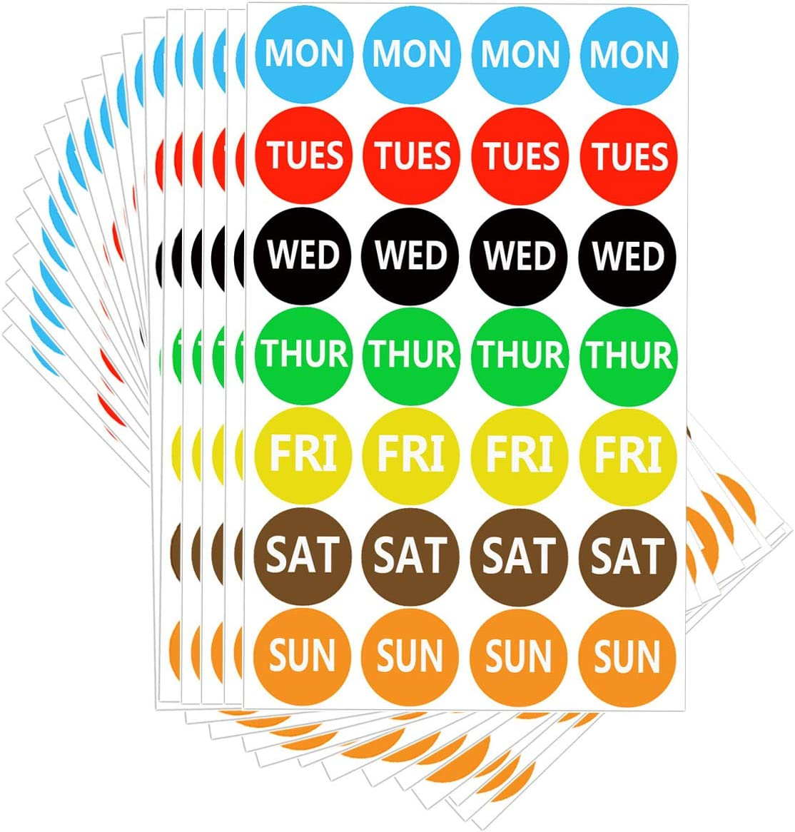 7 Days of The Week Labels Color Coding Dot Round Self Adhesive Stickers, 1
