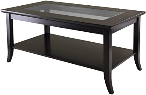 Winsome Genoa Rectangular Coffee Table With Glass Top And Shelf Furniture Decor