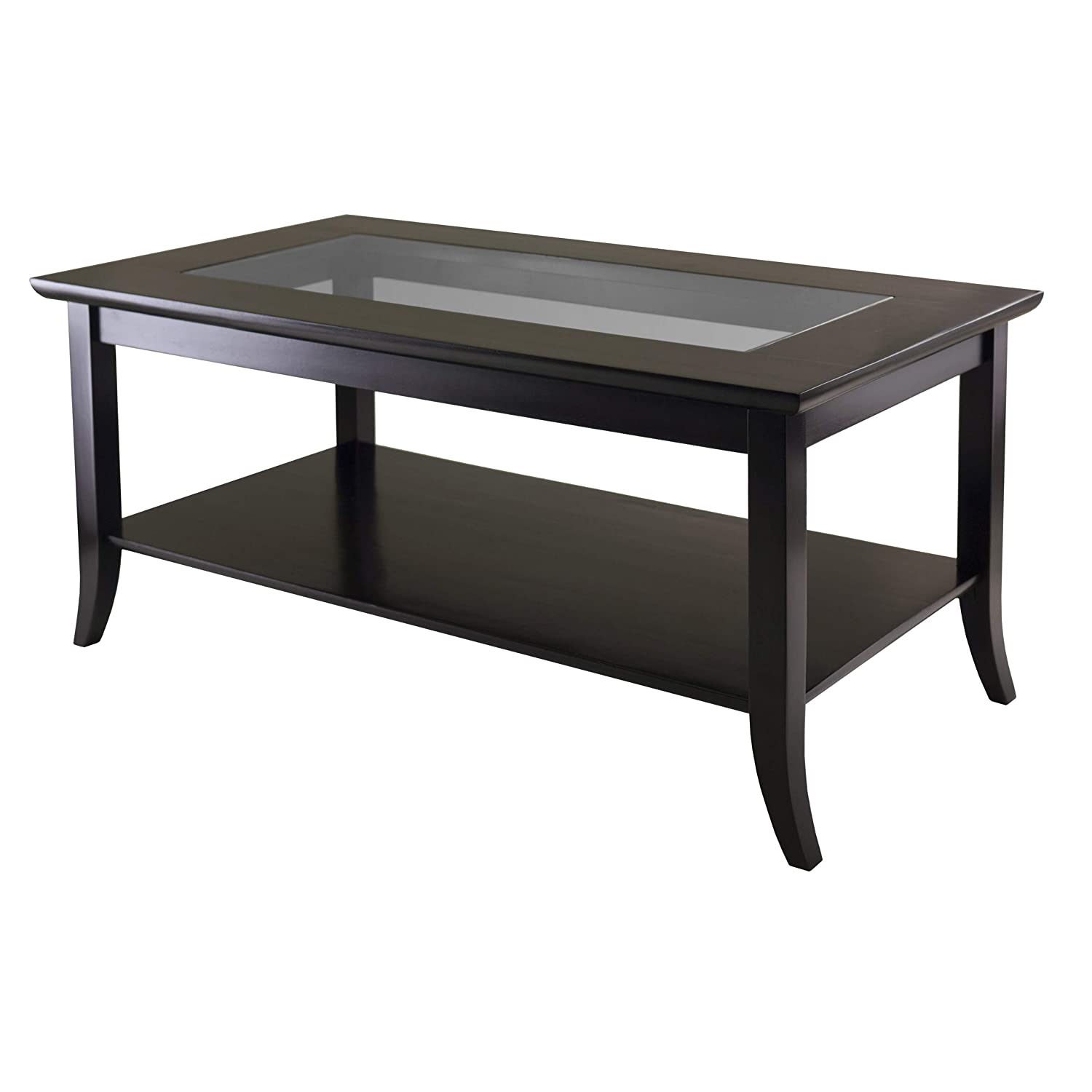 Amazoncom Winsome Genoa Rectangular Coffee Table With Glass Top