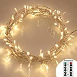 [Remote and Timer] 40 LED Outdoor Fairy Lights - 8 Modes Battery Operated String Lights (120 Hours of Lighting, IP65 Waterproof, Warm White)