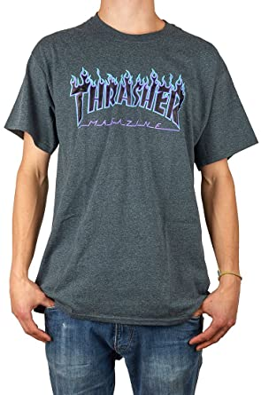 5d0165146778 Thrasher Flame dark heather T-Shirt: Amazon.co.uk: Clothing
