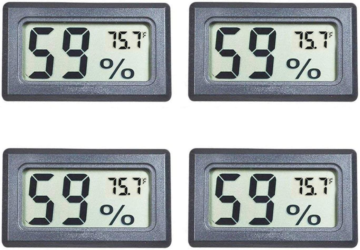 Pecco Hygrometer 4Pcs Mini Thermometer Humidors Reptile Digital Humidity Meter Battery Included for Room