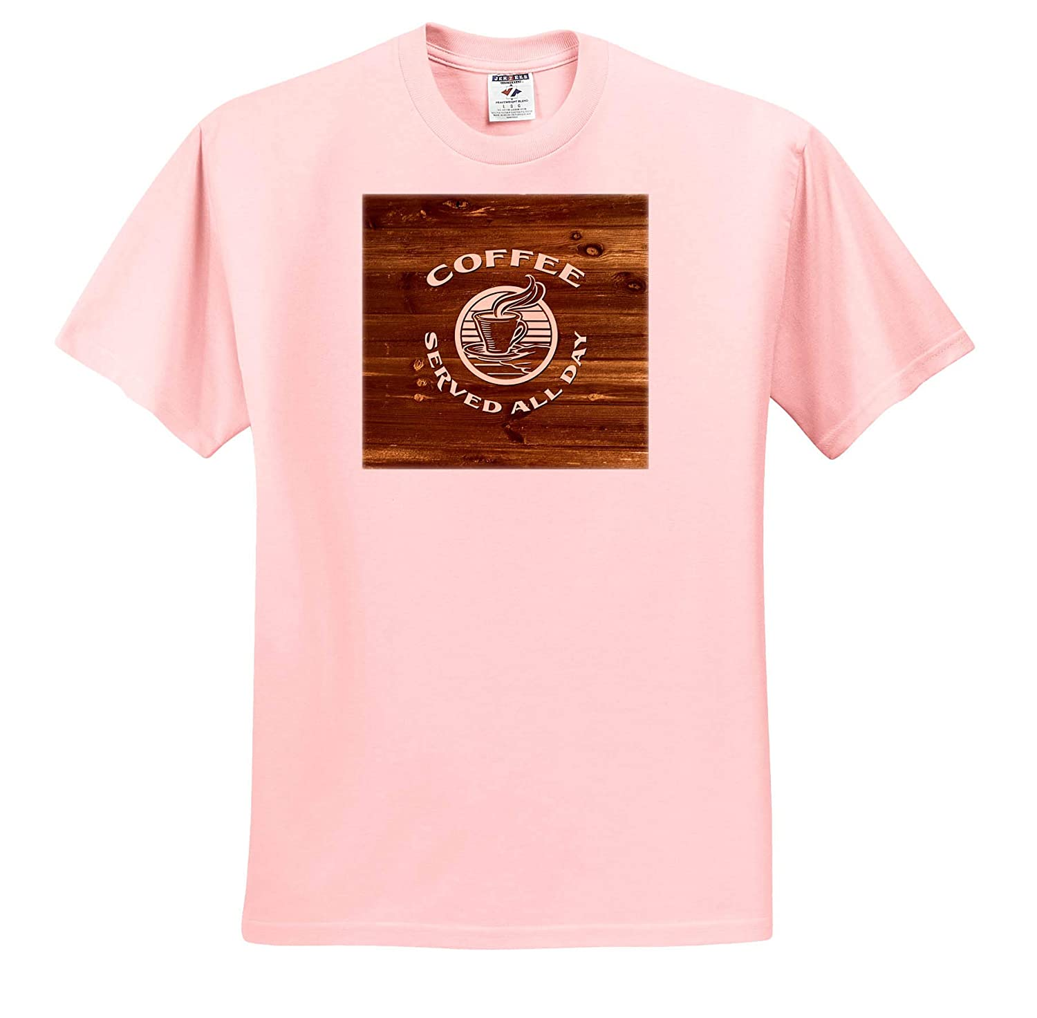 3dRose Russ Billington Designs not Real Wood Ivory Text on Brown Wood Coffee Served All Day T-Shirts