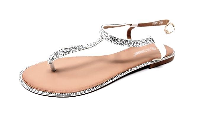 Zehentrenner Riemchen Sandalen Sandaletten mit Glitzer STRASS