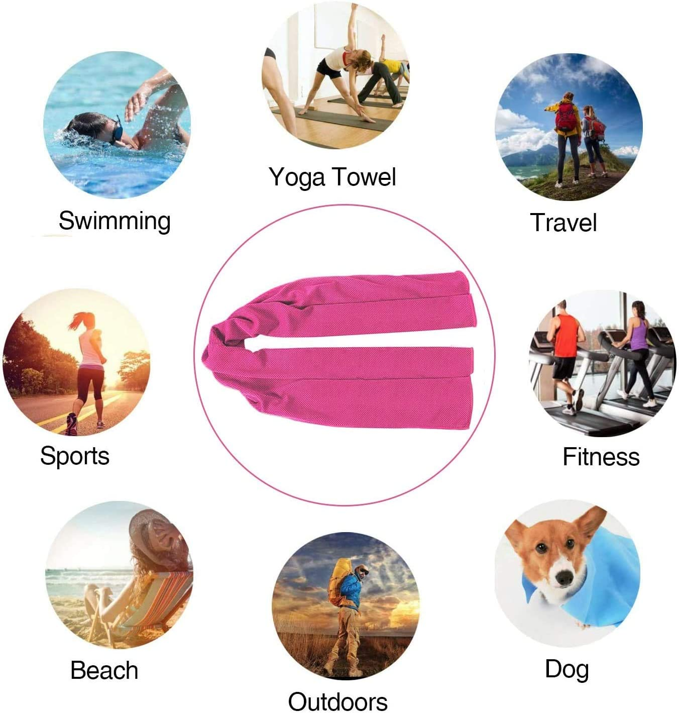 10 Mix Color Fitness Workout Camping Quick Dry and More IMAOSU 1 Pack Evaporative Cooling Towels 35x12,Snap Cooling Towels for Sports Golf Yoga Travel Gym