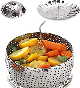 """100% telescopic Stainless Steel Steamer Pot Insert, Foldable Vegetable Steamer Basket For Instant Pot, Crock and Pot,Fish Veggie Seafood (6.5"""" to 10.5"""" Diameter)"""