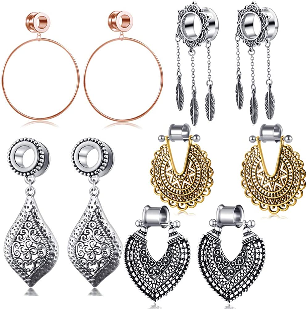 5 Pairs Dangle Gauges For Women Ear Tunnels And Plugs Earrings Stretcher Piercing Set Stainless Steel Double Flare 2g 0g 00g