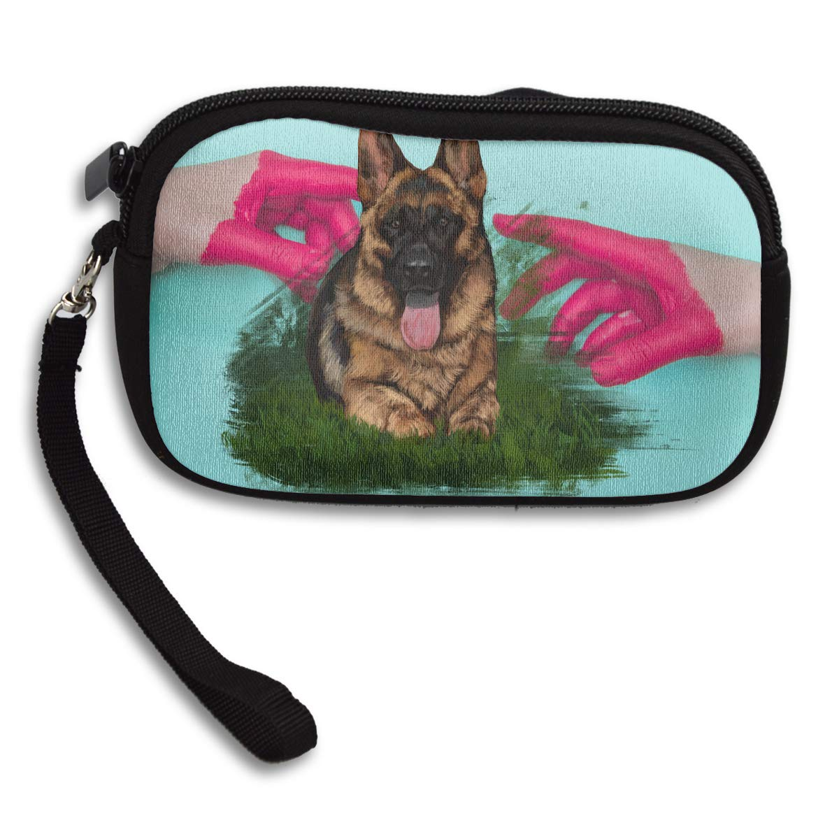 German Shepherd Dog With FLower Deluxe Printing Small Purse Portable Receiving Bag