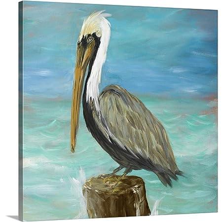 Pelicans on Post I Canvas Wall Art Print, 16 x16 x1.25