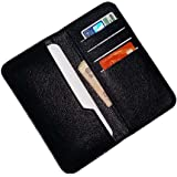 Wise Guys Leather Feel Flip Flap Wallet Pouch Case Cover with Card Slots for Motorola Moto Z Play - Black