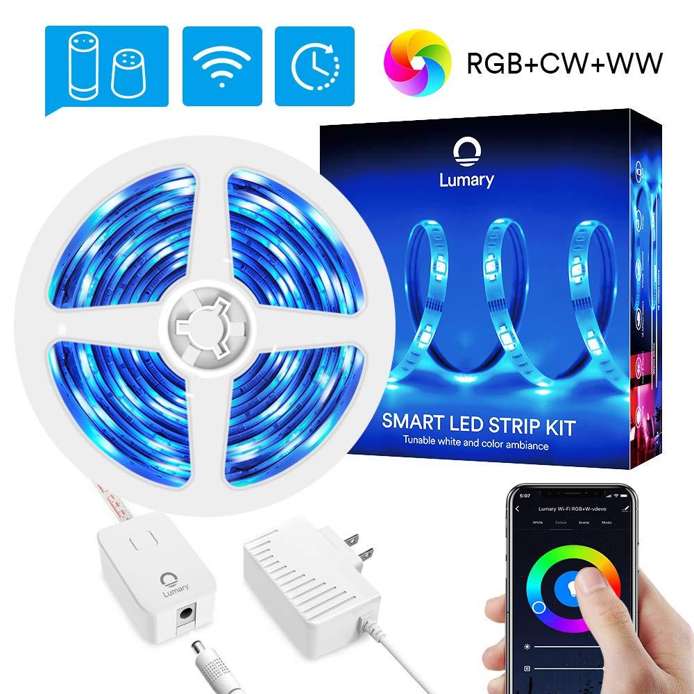 Color Changing Smart RGBWW Led Strip Lights - Lumary 16.4ft WiFi led Light Strip Work with Alexa Google Home Music Sync Waterproof Alexa Strip Lighting (RGB +Warm White +Cold White16.4ft)
