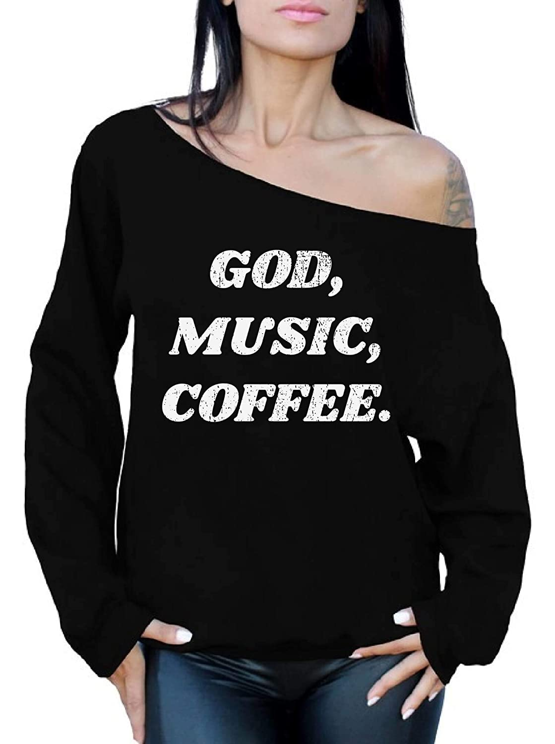 Awkward Styles God Music Coffee Off Shoulder Sweatshirt for Women God Oversized Sweater