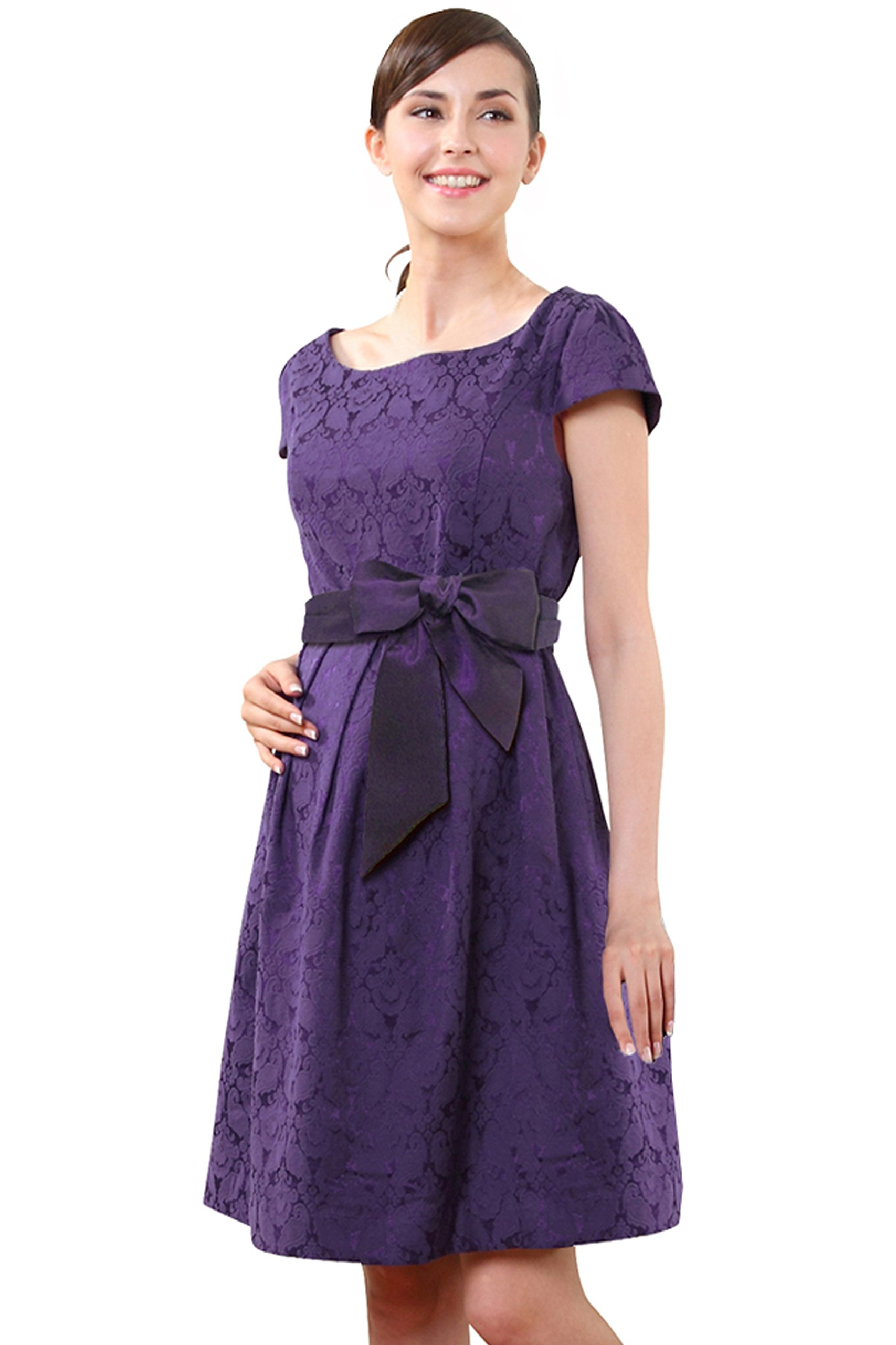 Sweet Mommy Maternity and Nursing Short Sleeve Waist Tie Stretch Jacquard Dress Purple, M
