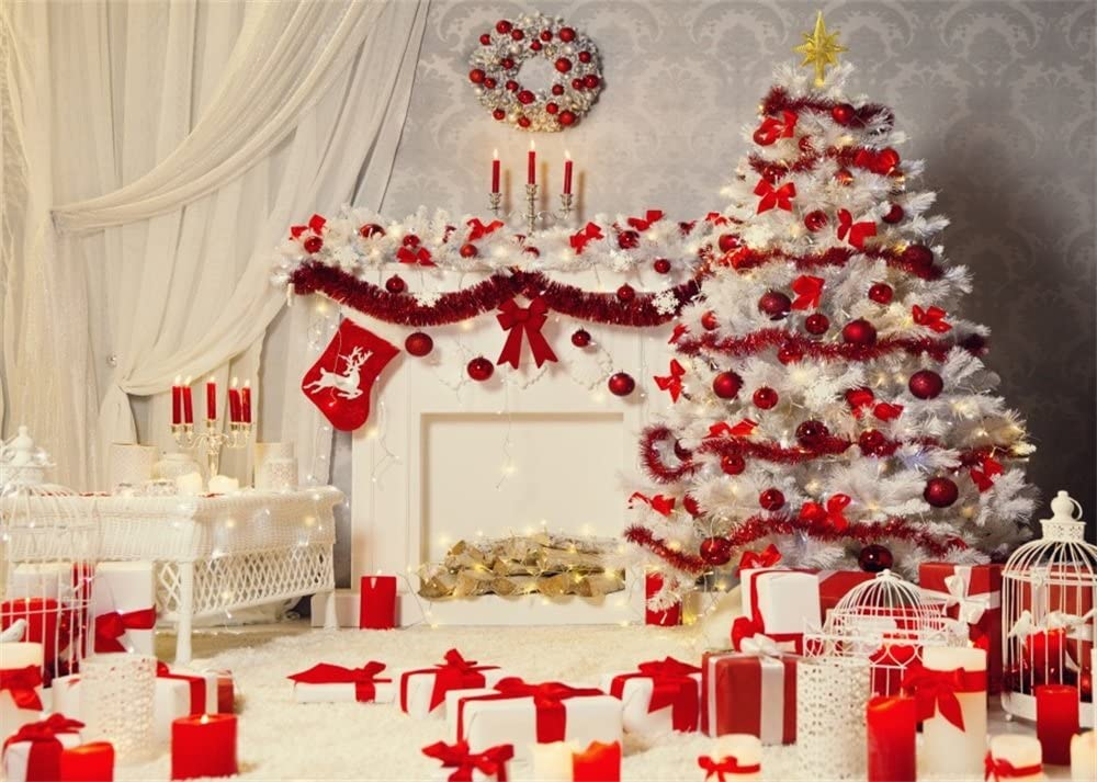 New Photo Backdrop Christmas 7x5 White Wall Xmas Garland with Fireplace Photography Background for Holiday Red Christmas Ball Snow Xmas Tree Indoor Backdrops for Family Photos