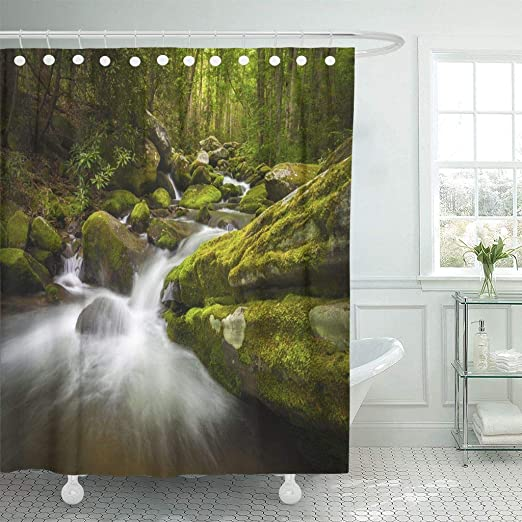 Small Waterfall River in Forest Shower Curtain Bathroom Waterproof Fabric 71/""
