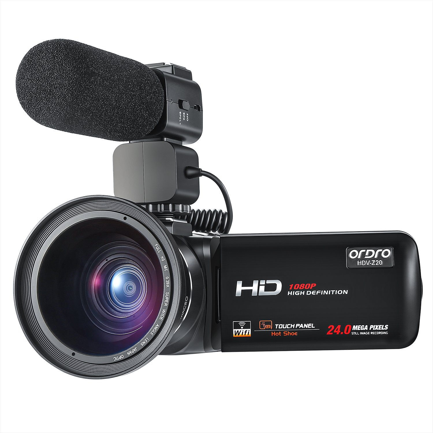 ORDRO Camcorder 1080P Full HD Video Camera with Wifi External Microphone Wide Angle Lens (HDV-Z20)