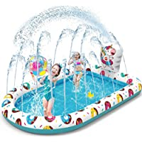 VATOS Splash Pad Sprinkler kinderbadje speelmat 170 x 115 cm waterspeelmat waterspeelgoed voor kinderen tuin outdoor…