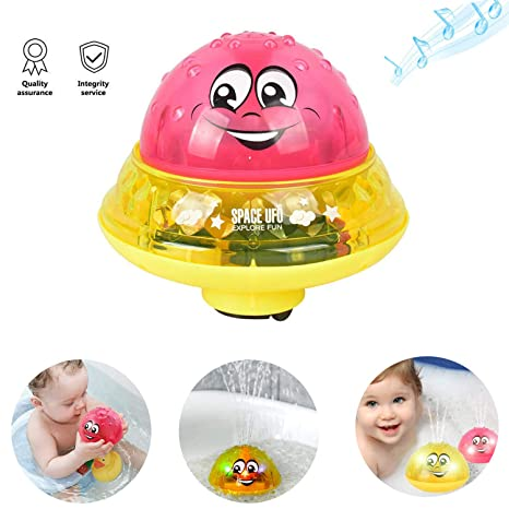 Sprinkler Ball Toy,Spray Water Baby Bath Toy,Floating Bath Toys with Light,Automatic Electric Induction Sprinkler Toy,Amphibious Interesting Light Music Toys,Birthday Gift for Toddler Kid Party Toy Baby Products