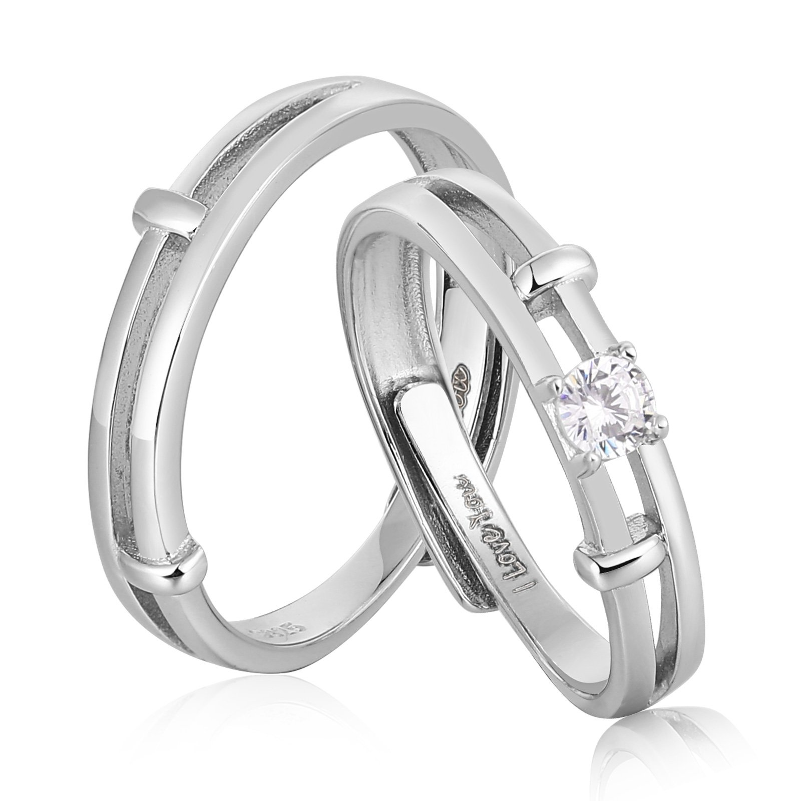 AnaZoz Endless Love S925 Silver Rings Adjustable Ring Cubic Zirconia Wedding Ring Promise Ring Couples Ring