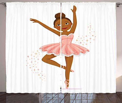 Ambesonne Retro Curtains, Ballerina Dancing Daughter Classic Performance Hobby Birthday Kids Baby Theme, Living Room Bedroom Window Drapes 2 Panel Set, 108 X 108 , Brown Rose